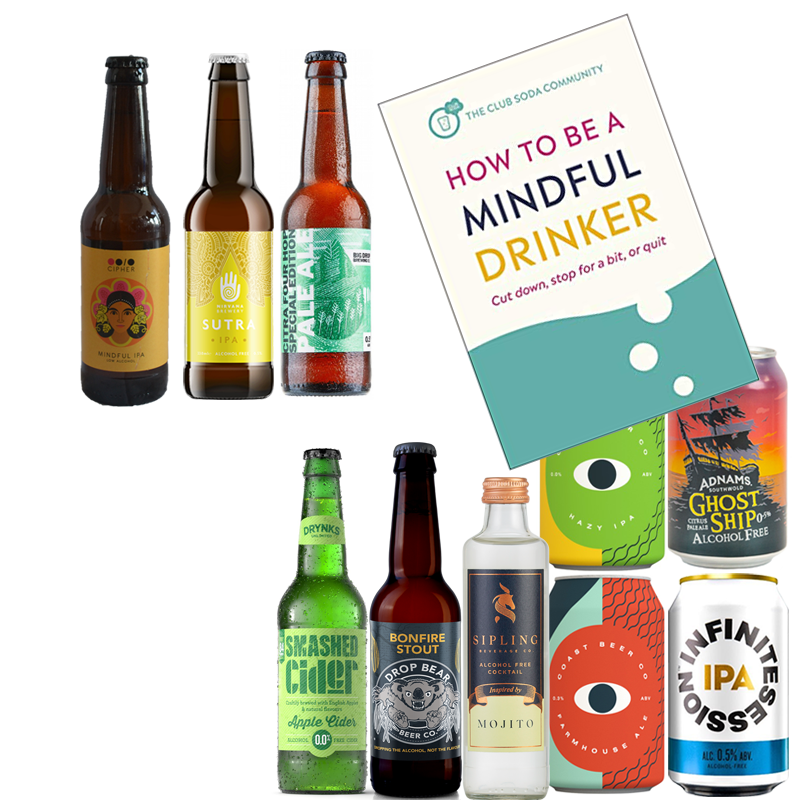 Club Soda Mindful Drinker' 10 drink Alcohol Free Wise Pack & Book (Save 7%)